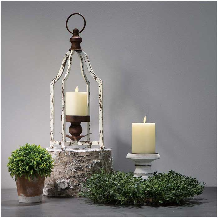 wood and metal rustic lantern