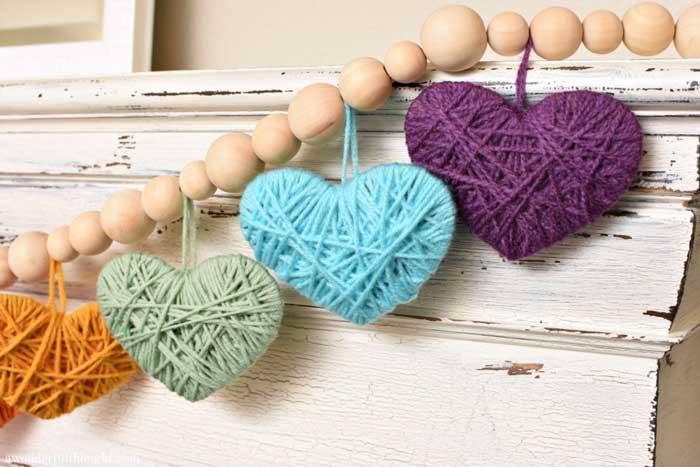 yarn wrapped heart garland