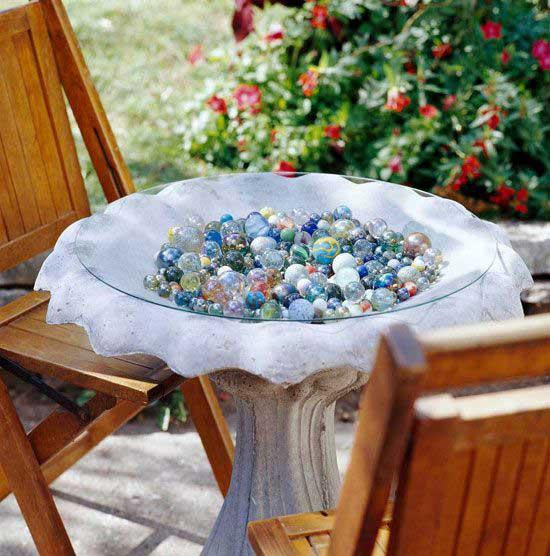 bird bath marble display