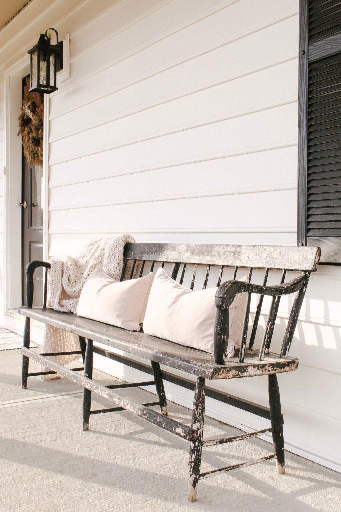 front porch antique deacons bench