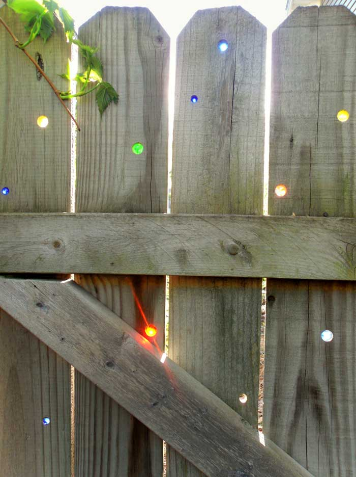 garden fence with marbles