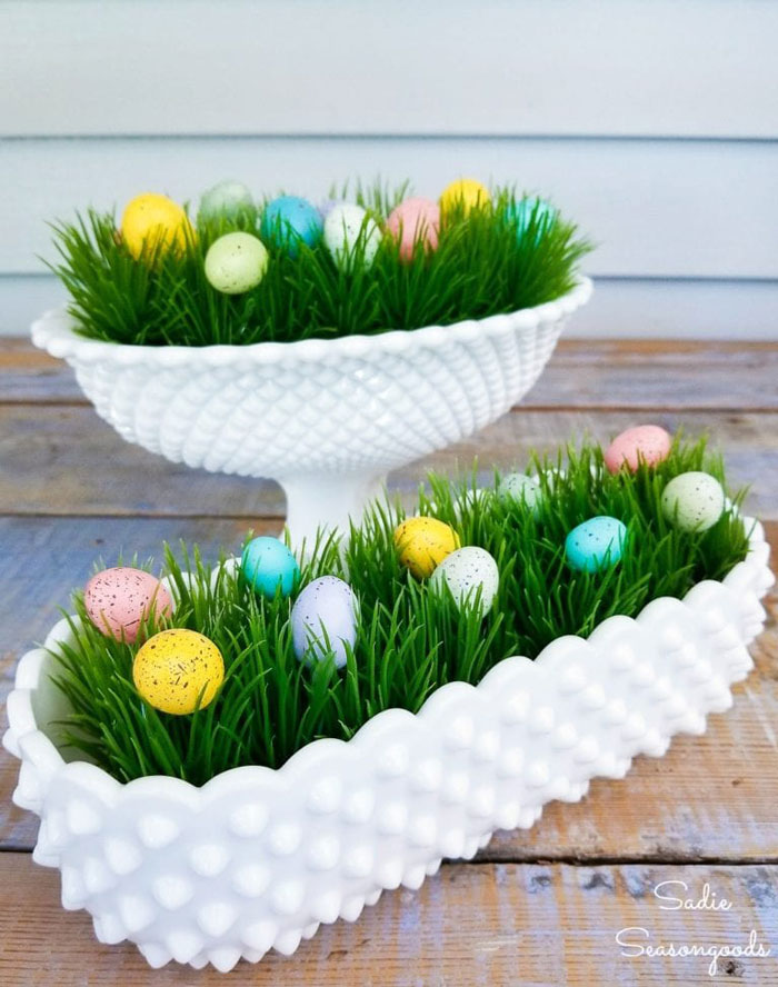 milk glass easter decor