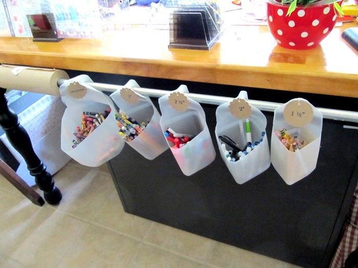 milk jug craft supply storage