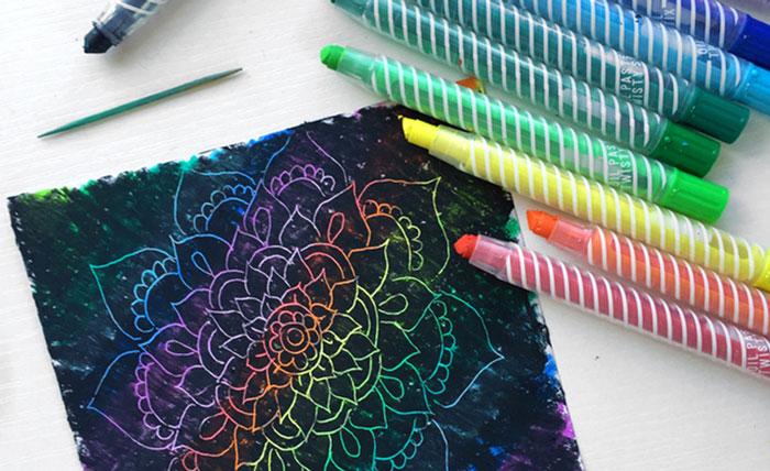 oil pastel scratchboard art
