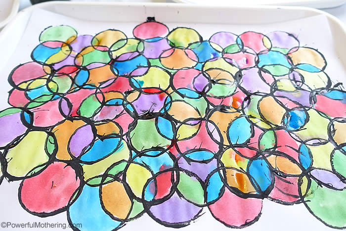 stained glass art with toilet paper rolls