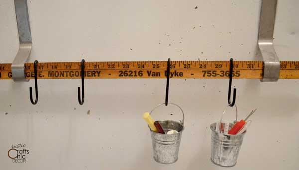 vintage yardstick hanging rod