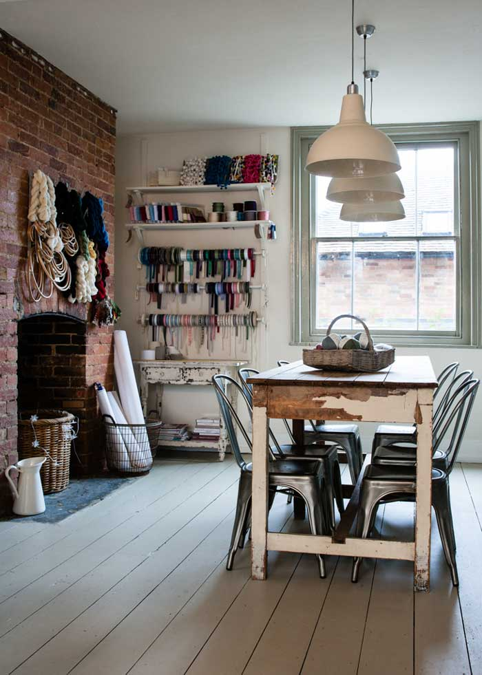 warm and rustic craft room