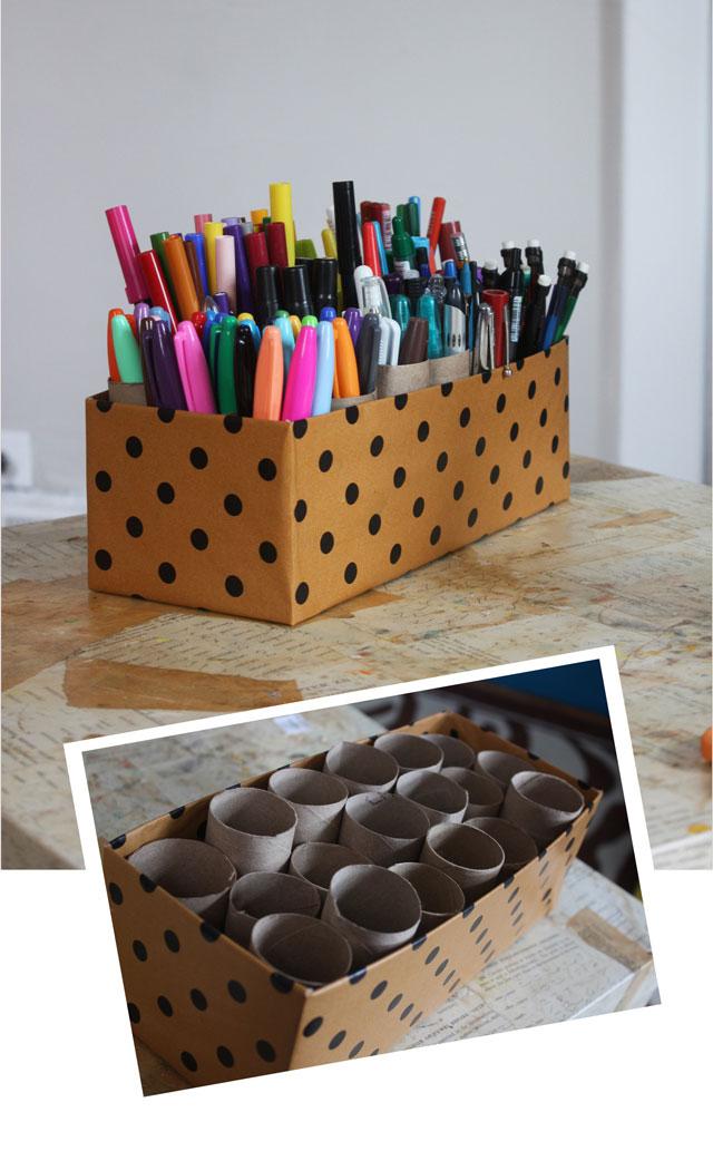 cardboard box craft caddy diy