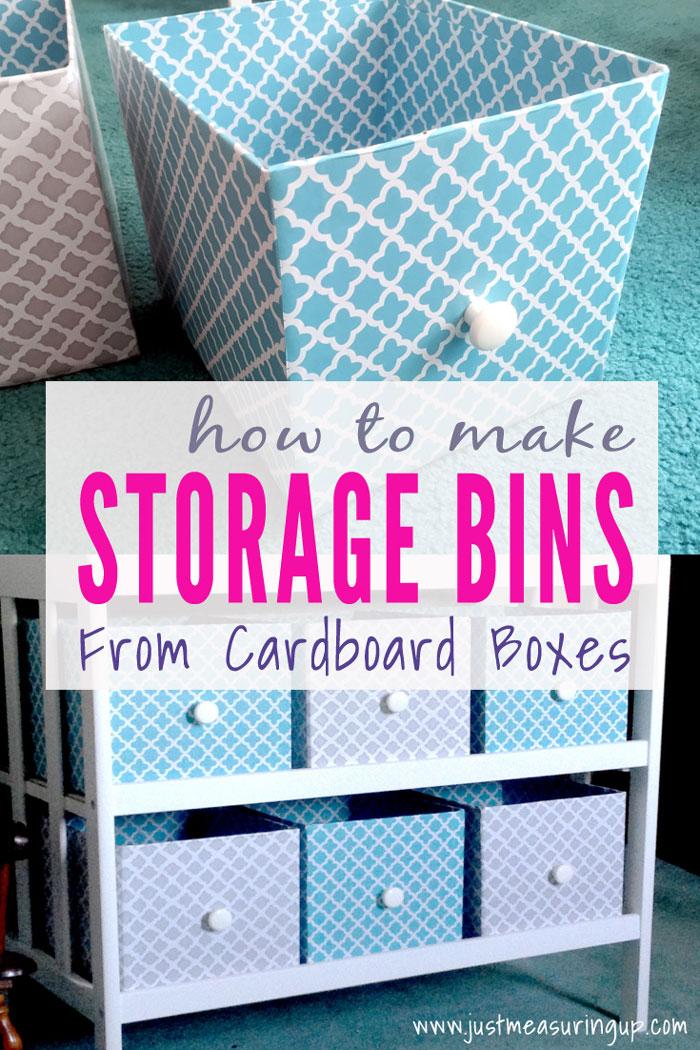 diy cardboard storage bins