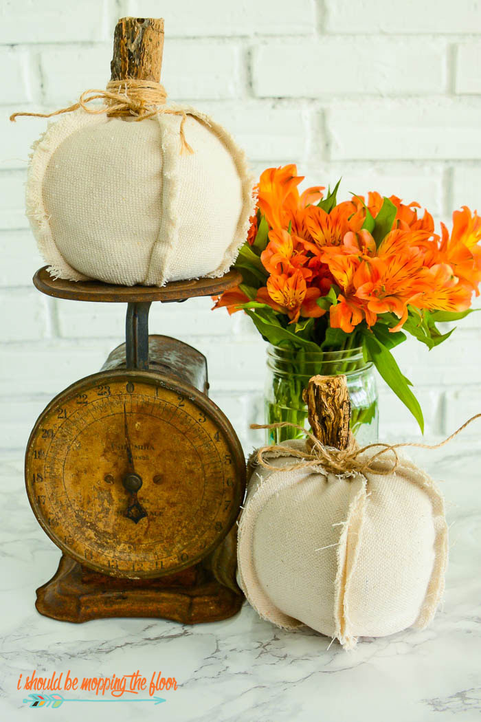 rustic fabric pumpkins