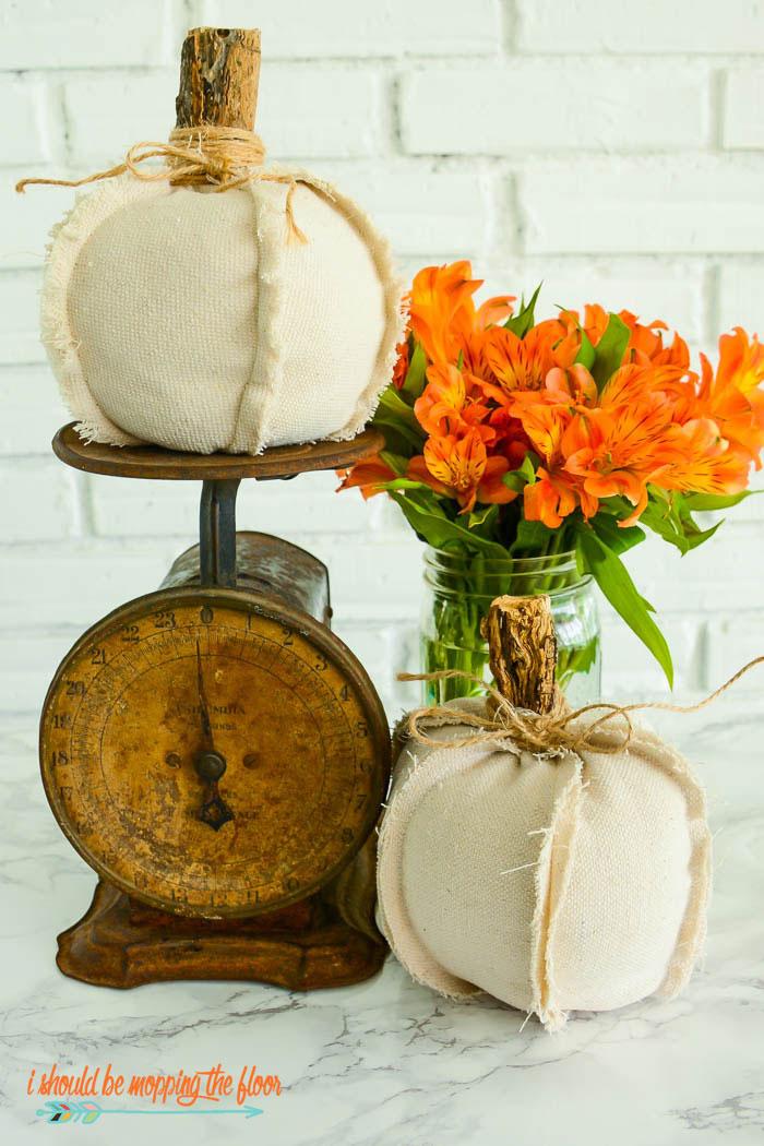 rustic fabric pumpkins