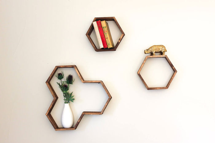 popsicle stick honeycomb shelves