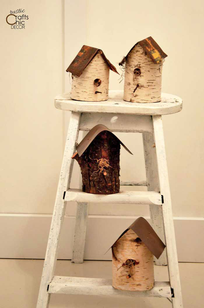 rustic log birdhouses