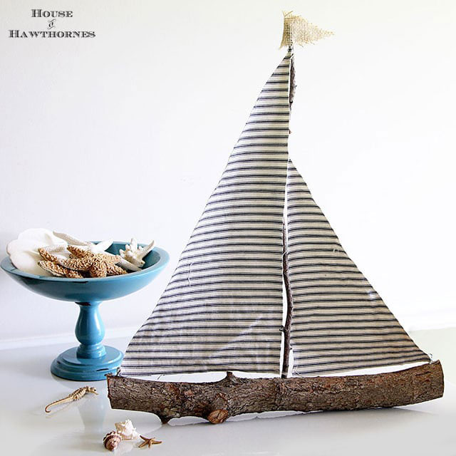 rustic fabric sail boat