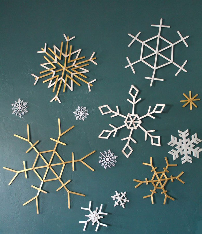 snowflakes made from popsicle sticks