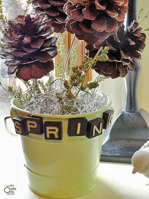 spring rustic flower pot