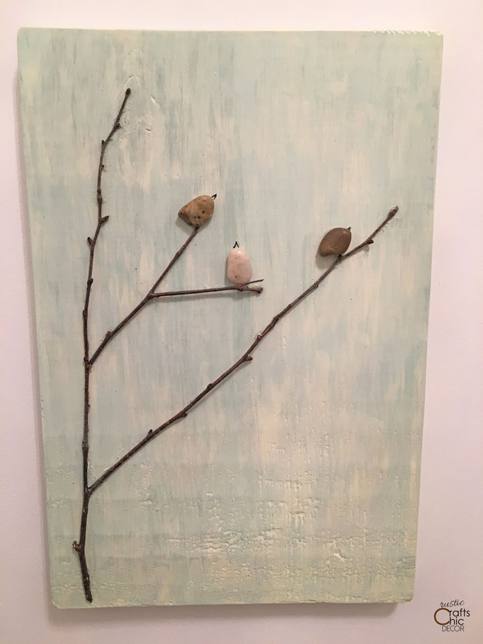 tree and bird pebble art