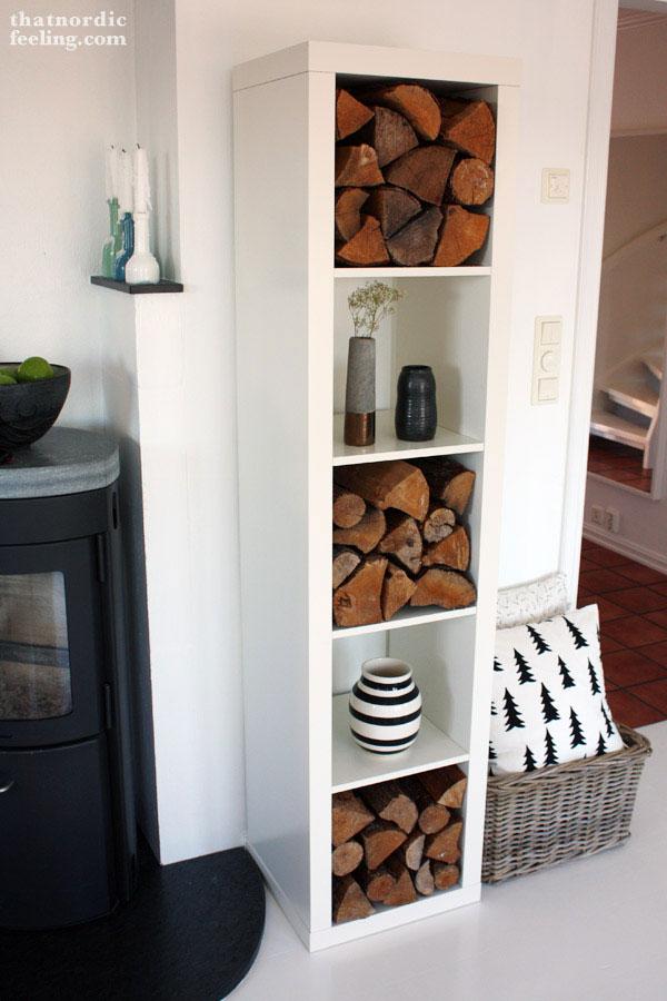 bookcase firewood storage