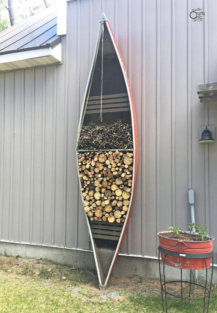 canoe outdoor firewood storage