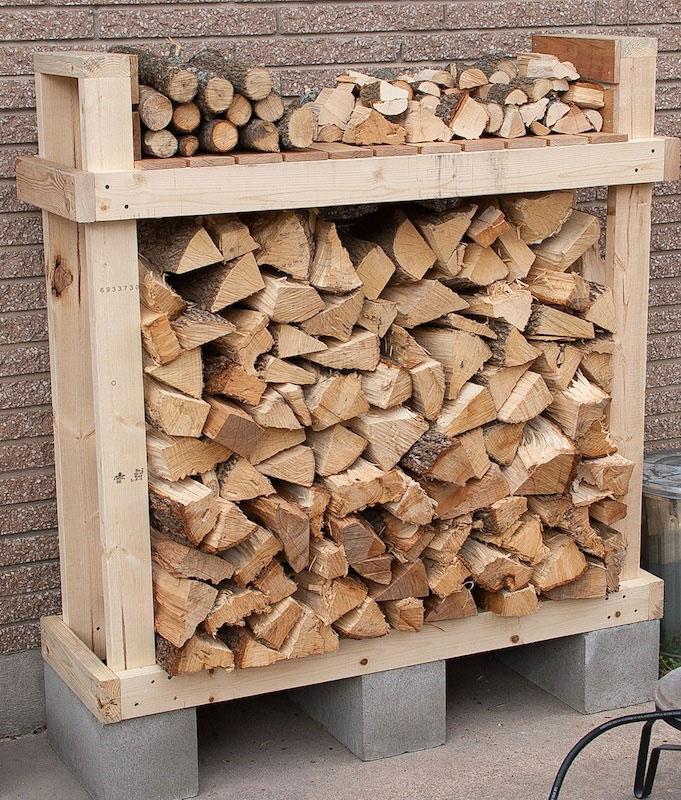 firewood rack built on cinder blocks