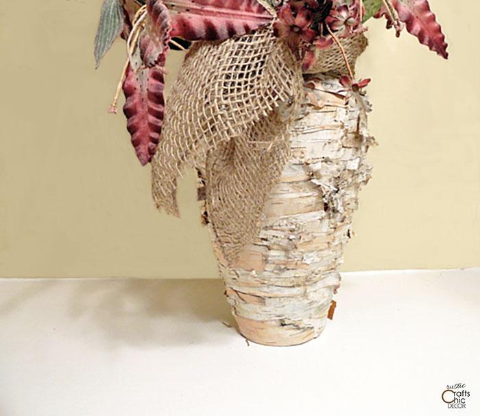 birch bark covered vase