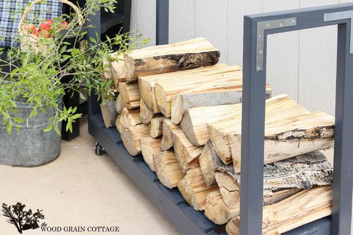 diy rolling cart log storage