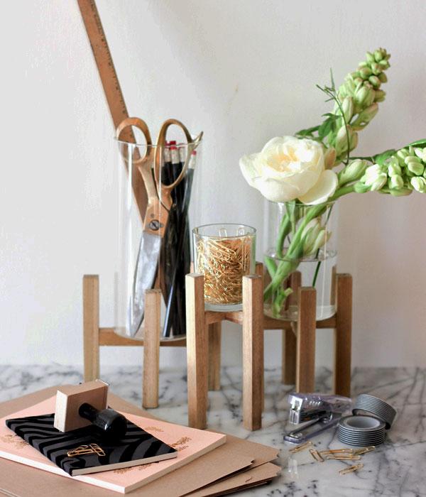 glass vase desk organizer
