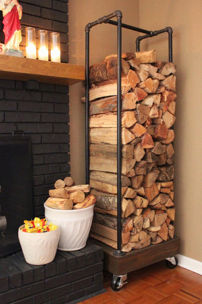 rolling plumbers pipe firewood storage rack