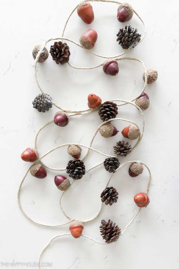 diy fall garlands - acorn and pinecone