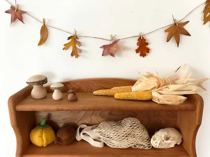 beeswax dipped leaf garland