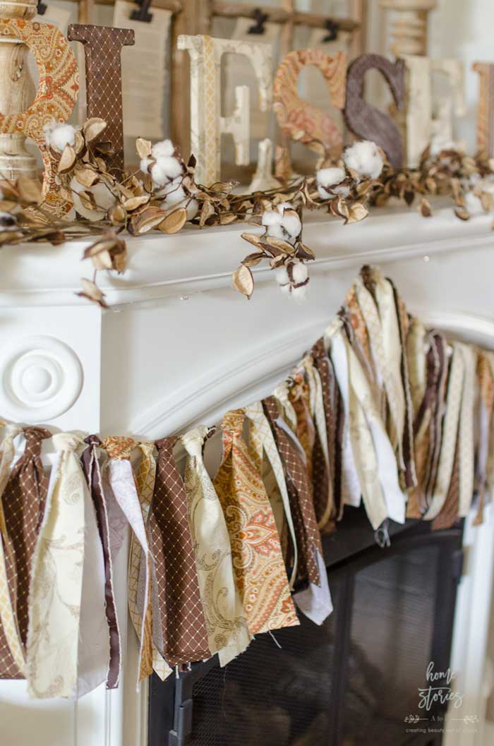 fabric scrap fall garland