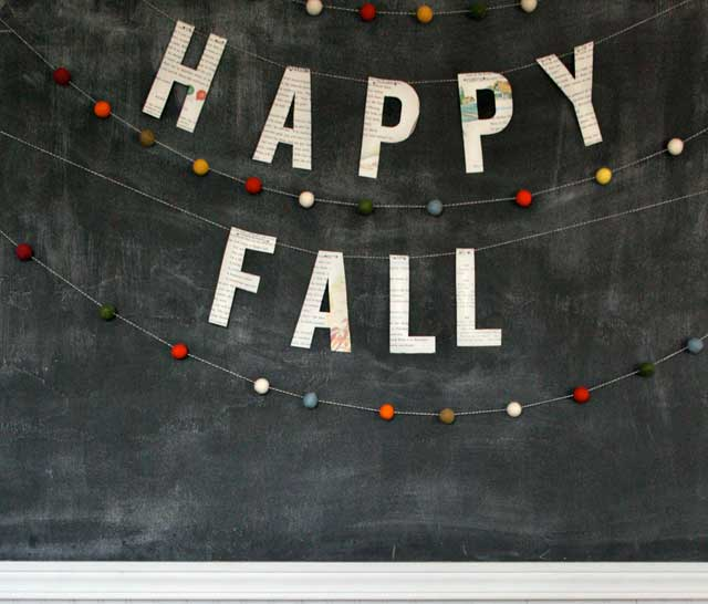 diy fall garlands - felt balls