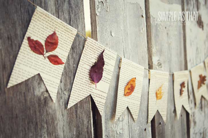 diy fall leaves pennant garland