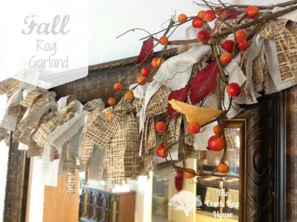 diy fall rag garland