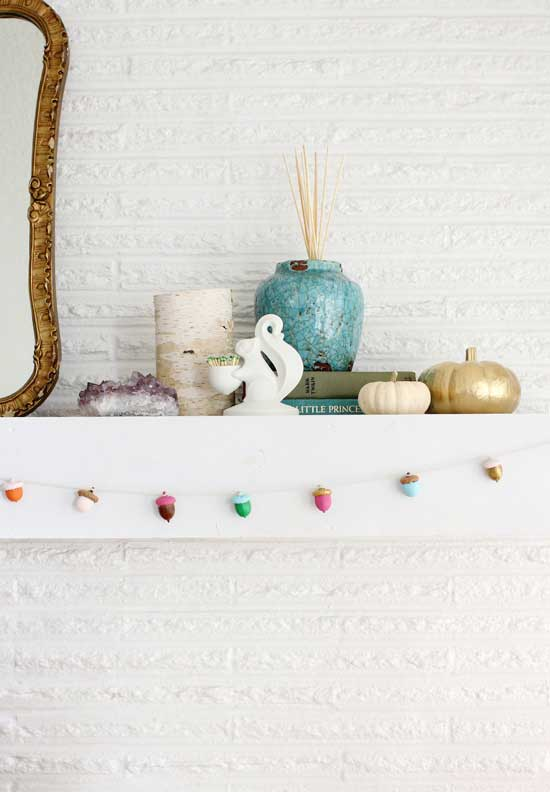painted acorn garland