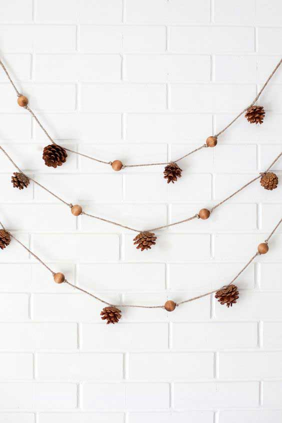pinecone and bead garland