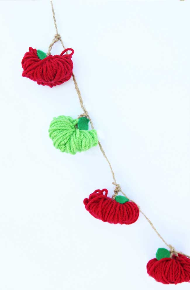 yarn apple garland