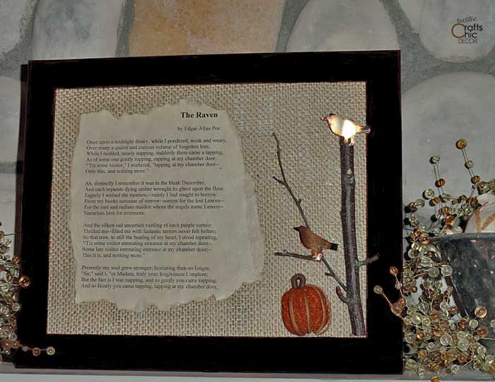The Raven framed poem
