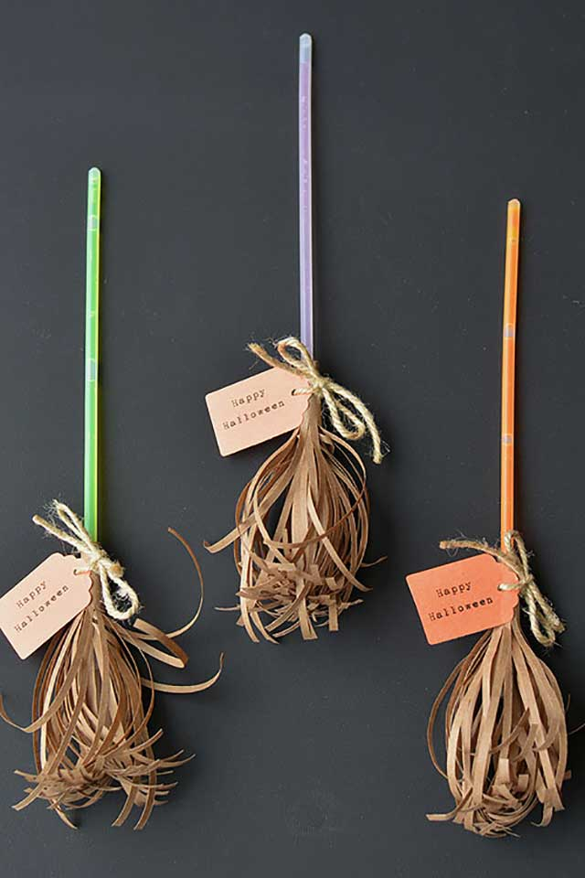 glow stick broomsticks craft