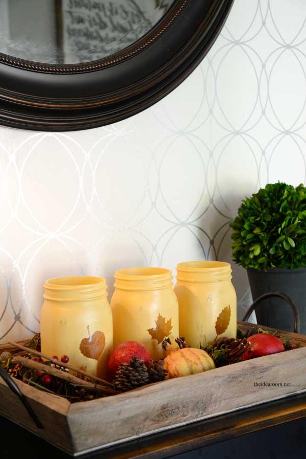 painted fall leaf cutout jars