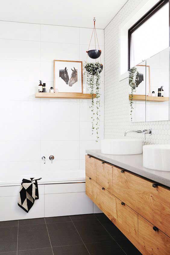 black and white modern rustic bathroom