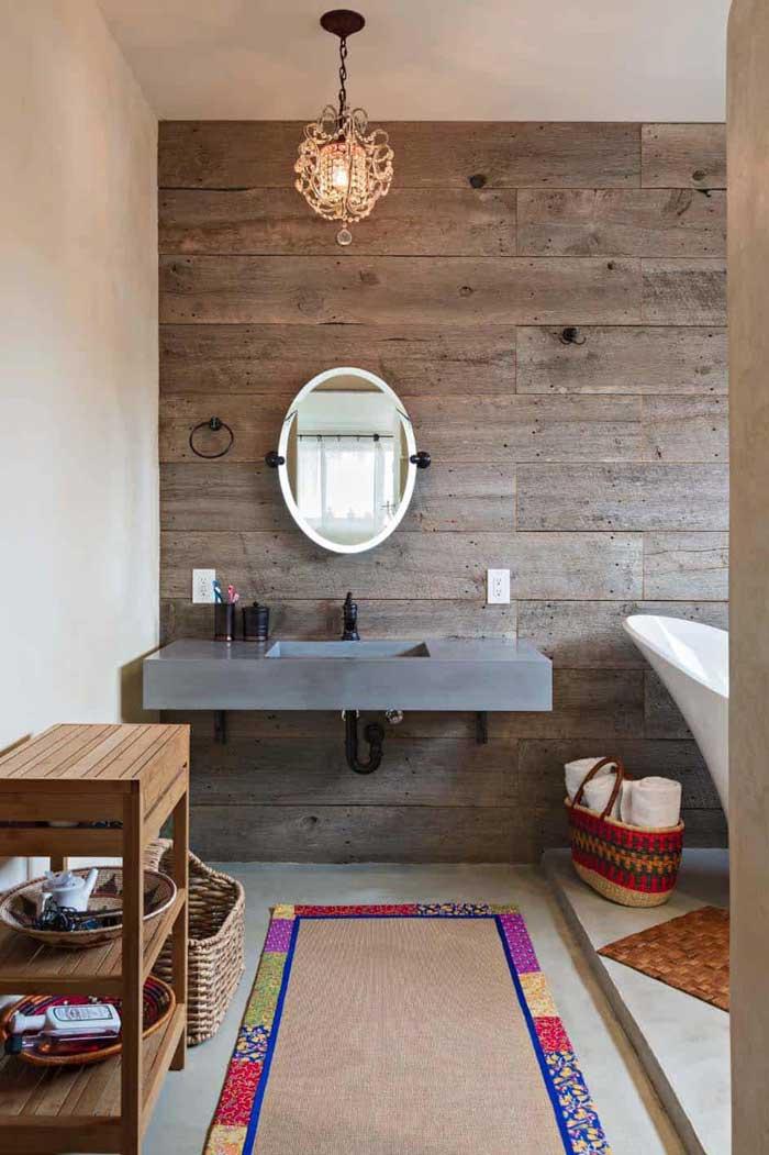 concrete and wood modern rustic bathroom