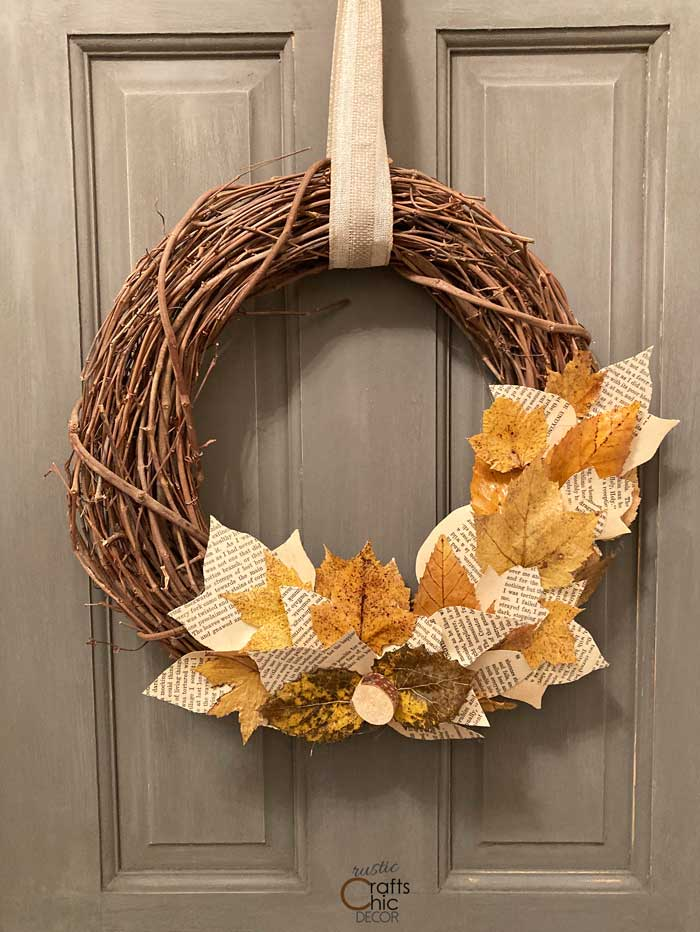 diy fall wreath with book page leaves