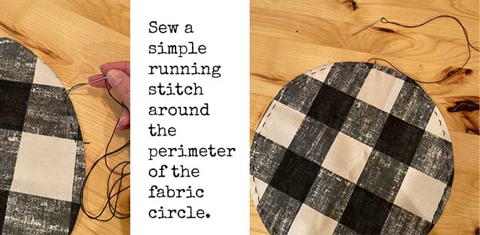 running stitch on circle fabric