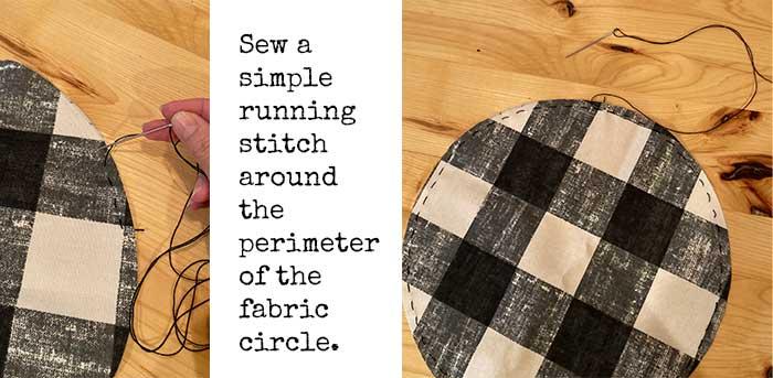 running stitch on circle fabric