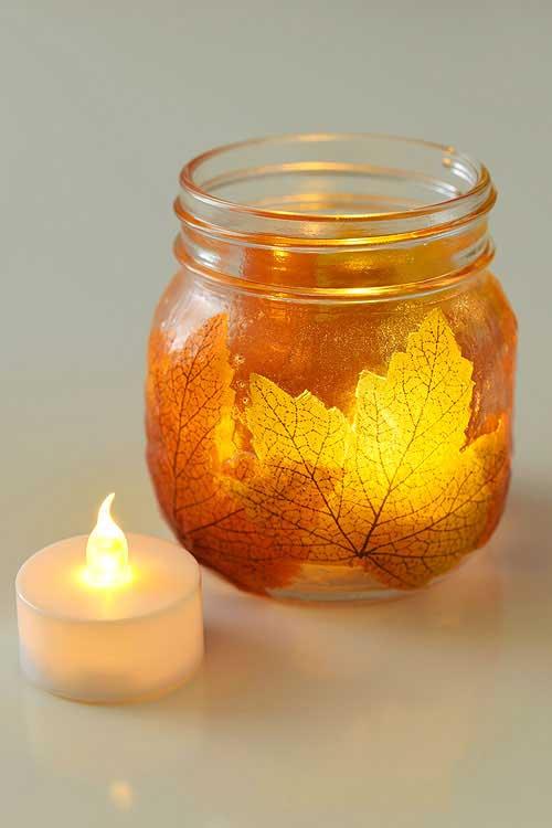 fall leaf mason jar candle holder craft