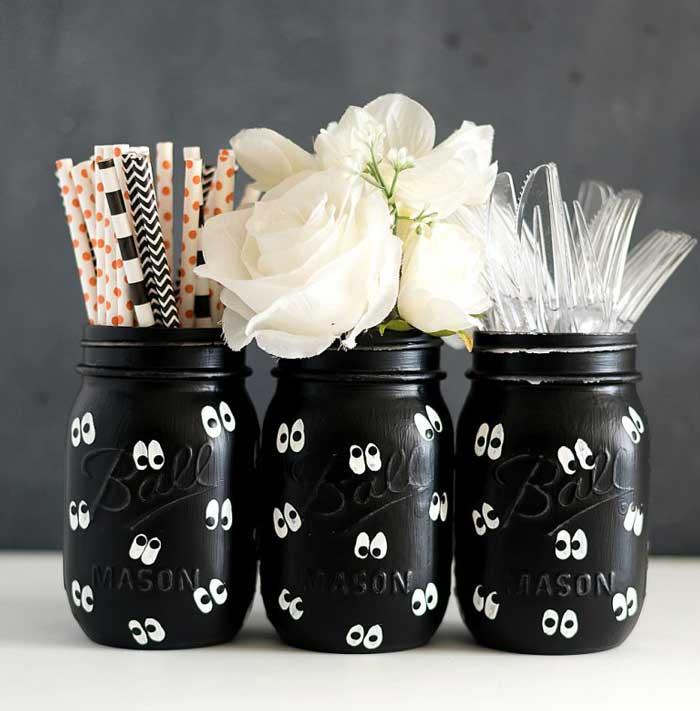 google eye mason jar vases