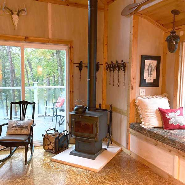 how to decorate around a wood stove