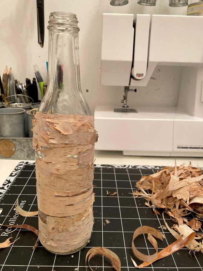layered bark on bottle
