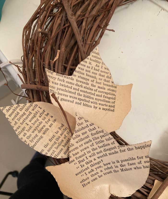 book page leaves glued to grapevine wreath
